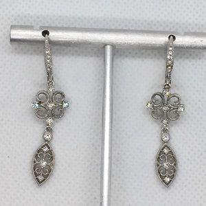 Napier Filigree Pave Drop Earrings